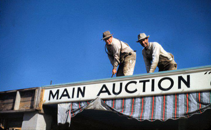 old time photo of main auction